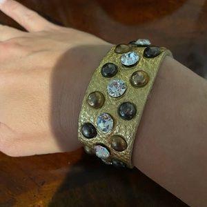 Gold Leather cuff bracelet
